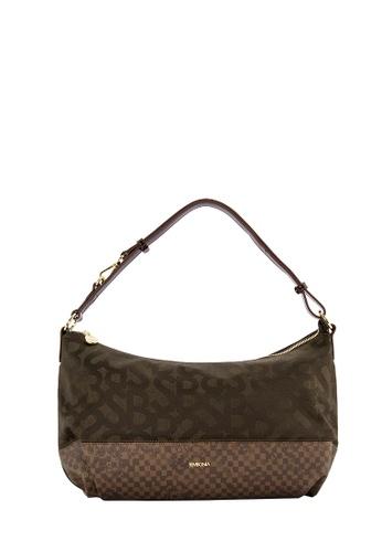 SEMBONIA brown SEMBONIA Jacquard Trimmed Leather Hobo Bag (Dark Brown)  46C0CACD409470GS 1 9039b152880ca