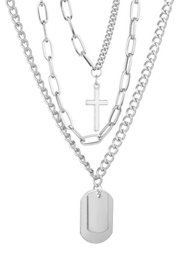 Sunnydaysweety silver Oval Link Chain with Cross and Slice 3 Necklace Set CA030222 8384EAC048D3EAGS_1