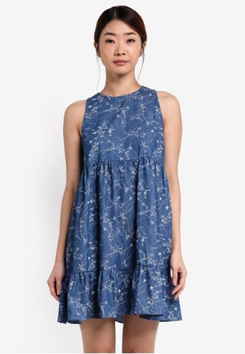 Something Borrowed blue Printed Cut In Tiered Babydoll Dress AA3CEAA05B0F3FGS_1