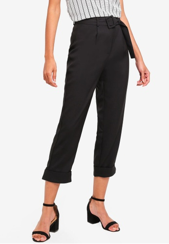 ZALORA BASICS black Basic Belted Tapered Trousers ECCBEAA072504BGS_1