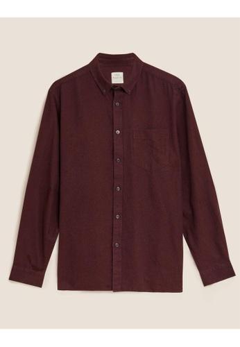 MARKS & SPENCER M&S Pure Cotton Flannel Shirt FCEA2AACC14F9DGS_1