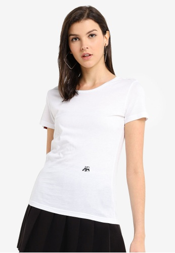 Hopeshow white Panda Embroidery Basic T-Shirt 897E0AA2409F57GS_1