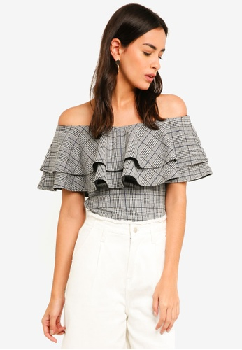 MDSCollections multi Flounce Off Shoulder Top In Checks 50D31AAFB9DC33GS_1