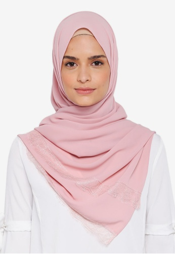 Lubna pink Silk Shawl with Lace FC6E3AA6F145ECGS_1