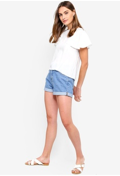 6e5a313e37656 38% OFF ZALORA BASICS Waterfall Ruffles Front Top RM 79.00 NOW RM 48.90  Sizes XS S M L XL