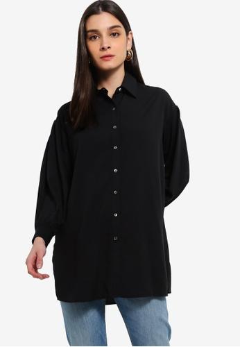 ZALORA 黑色 Balloon Sleeves Tunic Shirt CD56FAA26049D2GS_1