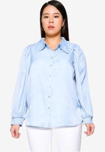 Only CARMAKOMA blue Plus Size Rita Long Sleeve Shirt 4B332AA68B6307GS_1