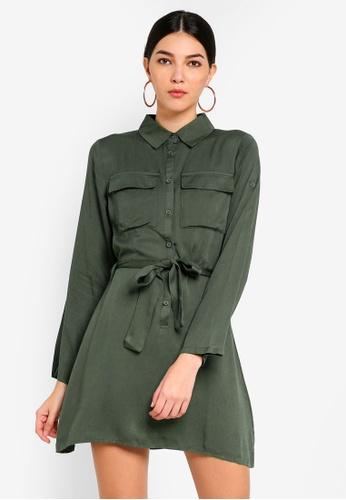 MISSGUIDED green Tie Waist Utility Shirt Dress B450DAABEE9441GS_1