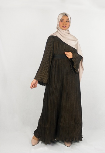 Zaryluq black and yellow and gold Bronze Pleated Dress 7C80AAA8D9BE0CGS_1