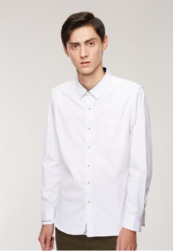 Life8 白色 Formal 彈力斜紋 刺繡設計 長袖襯衫-11175-白色 E0766AA8DD65E5GS_1
