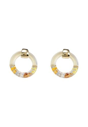 GLOBAL WORK white Floral Hoop Earrings 21DBCAC4E97412GS_1
