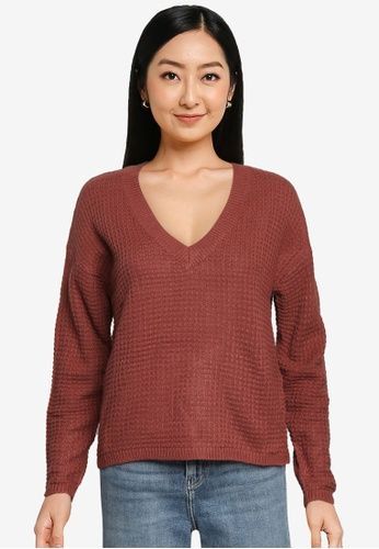 JACQUELINE DE YONG red Alice V-Neck Knit Pullover 227F8AA6E34D25GS_1