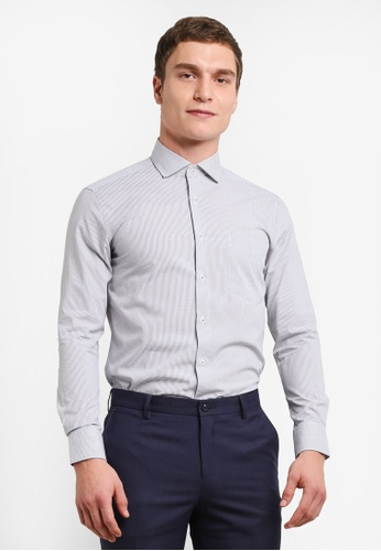 G2000 grey Stripe Long Sleeve Shirt G2754AA0SHBBMY_1