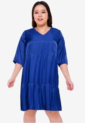Only CARMAKOMA 藍色 Plus Size Talia 3/4 Dress 8D8D3AA876889FGS_1