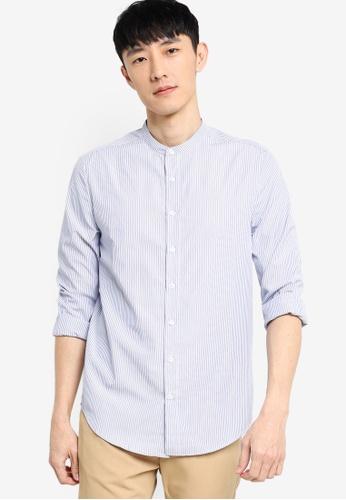 ZALORA BASICS white and blue Slim Fit Stand Collar Stripe Shirt 86FEFAA91898E0GS_1