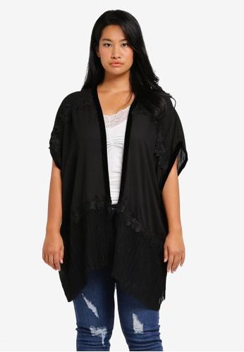 LOST INK PLUS black Plus Size Kimono With Pleated Hem LO776AA0T1SRMY_1