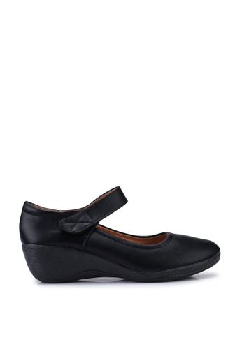 Louis Cuppers 黑色 Faux Leather Mary Wedges 56BDDSHED485C6GS_1