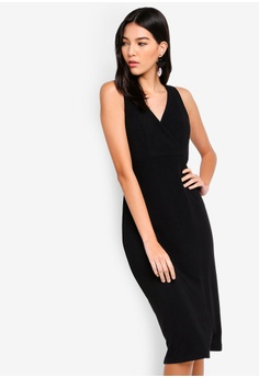 c5db59d8e045 ZALORA black Overlap Rib Bodycon Dress 0E478AA21E4FC5GS 1