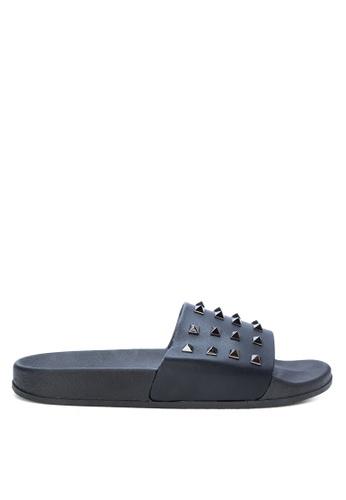 Appetite Shoes black Rockstud Leather Slides 5D967SH4FFE60CGS_1