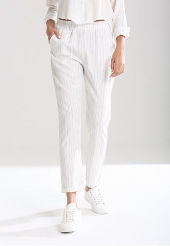 London Rag white Elastic Waist Striped Pants CDEA6AA40630E3GS_1