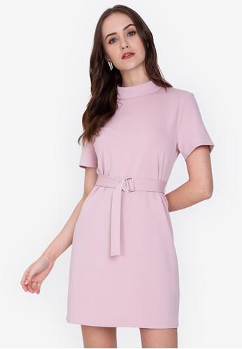 ZALORA WORK 粉紅色 High Neck Knit Dress ADADCAA9EEAE01GS_1