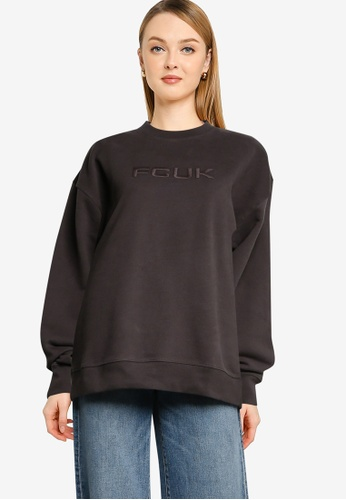 French Connection black FCUK Tonal Sweater 13FE0AADE1AC30GS_1
