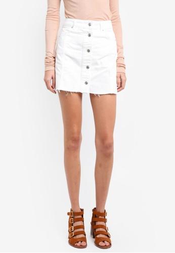 TOPSHOP white Moto Button Through Skirt TO412AA0SIWCMY_1