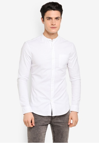 802d50a19e13bb Topman white White Stretch Muscle Oxford Shirt TO413AA0T1NYMY 1