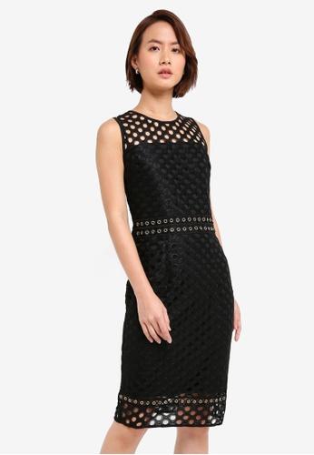 Dorothy Perkins black Eyelet Waist Lace Pencil Dress 89703AAED68CA5GS_1