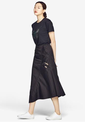 不對稱下擺條紋及膝短裙, 服飾, 裙esprit台北門市子