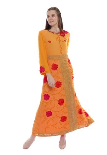 "Devain Kapoor orange ""Briar Rose"" Embroidered Formal Dress 58A53AA36EA540GS_1"