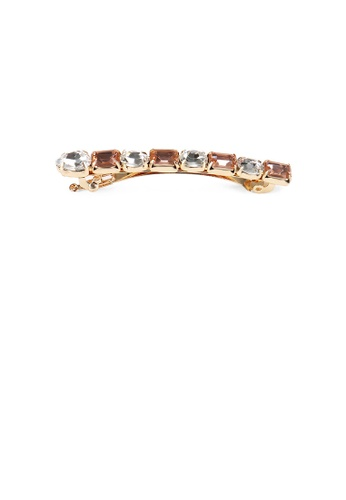 Glamorousky gold Fashion and Simple Plated Gold Geometric Hair Clip with Champagne Cubic Zirconia F818CAC598C8EFGS_1