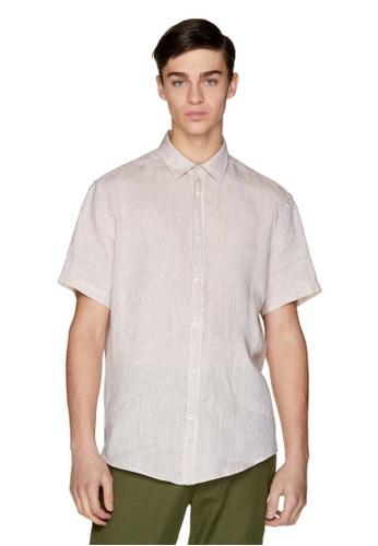 United Colors of Benetton 米褐色 素色短袖襯衫 2C919AA47D1930GS_1