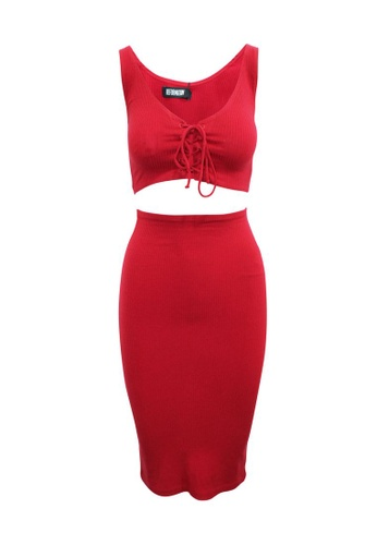 Reformation red Pre-Loved reformation Red Sleeveless Crop Top and Skirt Set 9E1C2AACC6E02DGS_1