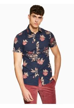 c3749ede56e Topman navy Floral Print Shirt 3CC89AA90D02C2GS 1