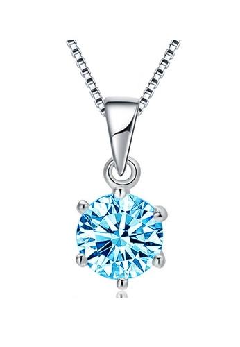 YOUNIQ silver YOUNIQ Hexa 925 Sterling Silver Necklace Pendant With Blue Brilliant Cut Cubic Zirconia E1488AC0DE133BGS_1