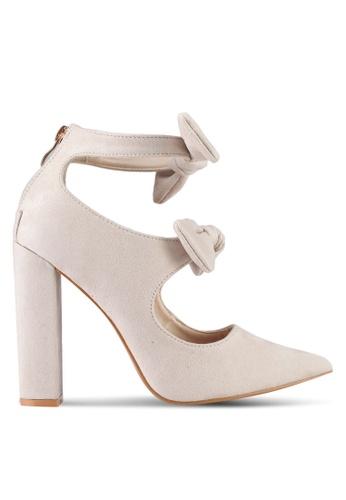Velvet beige Double Bow Detail Chunky Heel 4A9E1SHB980C60GS_1