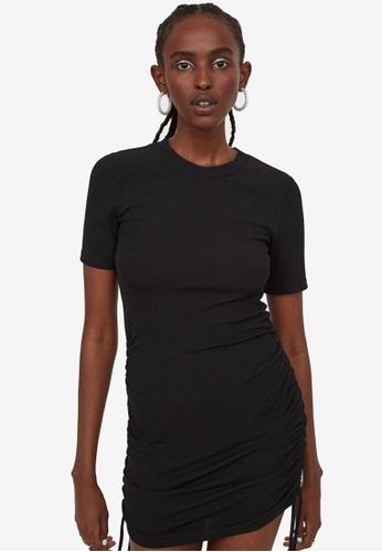 H&M black Ribbed Jersey Dress B847FAA56C9919GS_1