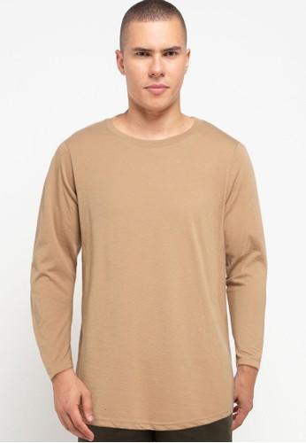 Tolliver brown Basic Long Sleeve Tee 5FBAFAA3258367GS_1