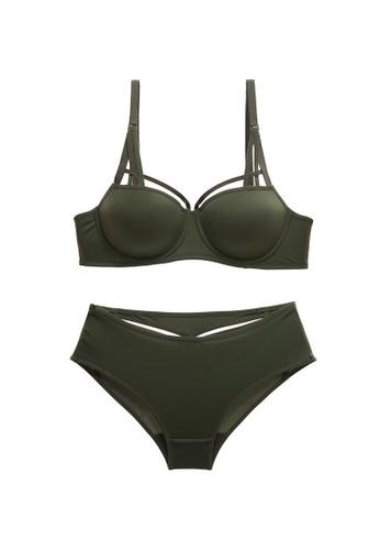 W.Excellence green Premium Green Lace Lingerie Set (Bra and Underwear) D1D5FUSCDFD594GS_1