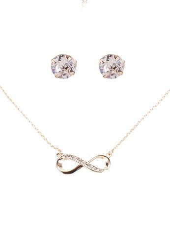 Mestige 金色 金色 Infinity 項鍊 And 耳環Set With Swarovski Crystals 4807FAC3FB6933GS_1