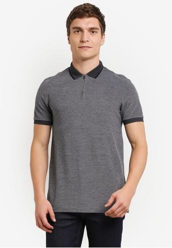 Burton Menswear London grey Grey Zip Neck Polo Shirt BU964AA0S5MSMY_1