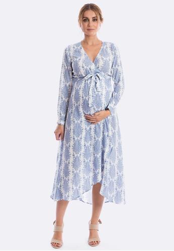 Maive & Bo blue Harlow Maternity Dress in Vintage Belle (Long Sleeve) 46E60AA8577C3DGS_1