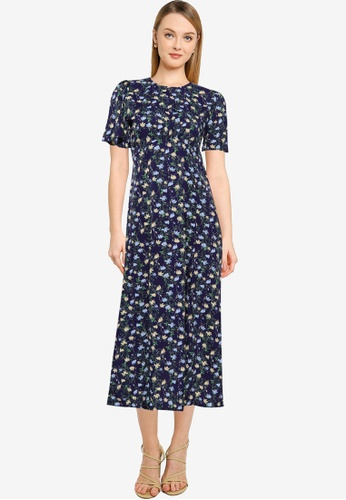 MISSGUIDED navy Flutter Sleeve Ditsy Midi Dress 69A53AAF120644GS_1
