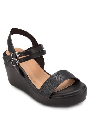 esprit 高雄Avenue 壓紋繞踝楔型鞋, 女鞋, 鞋