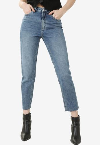 PIMKIE 藍色 High-Waisted 直筒牛仔褲 8D336AA35C7DE6GS_1