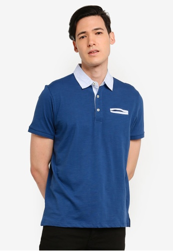 OVS 海軍藍色 Men's 雙色POLO衫 48E31AACC9600DGS_1