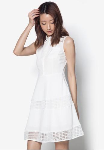 蕾絲拼接傘狀無袖洋裝尖沙咀 esprit, 服飾, 短洋裝