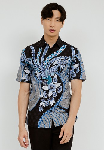 Jayashree Batik multi Slimfit Aria Blue Short Sleeve 294A1AAE8BCBCAGS_1