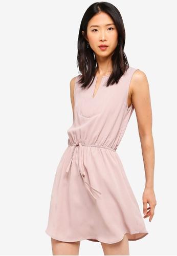 ZALORA BASICS pink Basic Tie Waist Bib Front Shirt Dress 45382AABF3F6ADGS_1